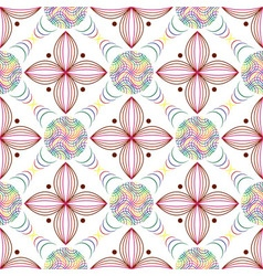 Seamless of colored lines in circles and geometric vector image vector image
