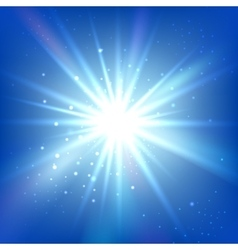 Blue sky with bright flash or burst Abstract vector image
