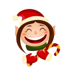 Cartoon cute christmas girl - elf holding a candy vector image