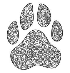 dog paw print zentagle vector image vector image