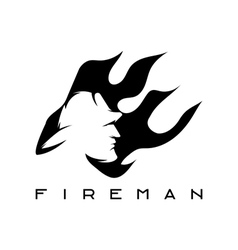 fireman in flame abstract design template vector image