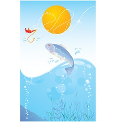 fish and hook vector image