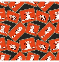Seamless pattern kittens vector image