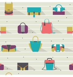 Seamless pattern with fashion bags in various vector image vector image