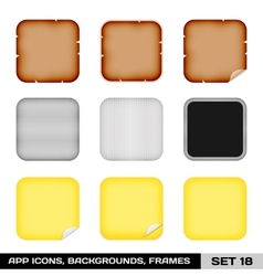 Set Of App Icon Frames Templates Backgrounds Set vector image vector image