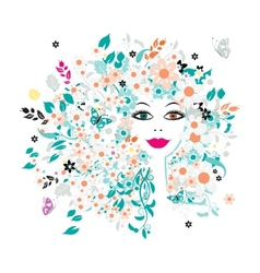 Woman face floral hairstyle for your design vector image vector image