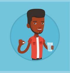 young african-american man taking pills vector image
