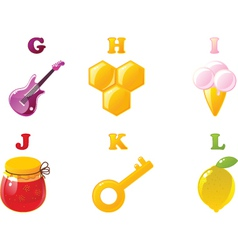 alphabet icons vector image vector image