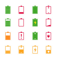 Battery charge level color icons set vector