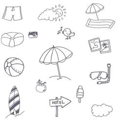 Beach icon set doodle vector image