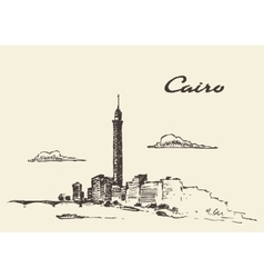 Cairo skyline Egypt drawn sketch vector image vector image