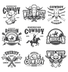 Set of vintage cowboy emblems vector