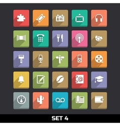 Trendy icons with long shadow set 4 vector