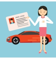 woman holding show driver driving license in front vector image vector image