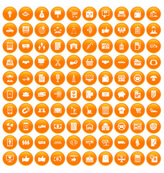 100 business icons set orange vector image