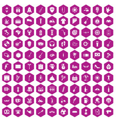100 street festival icons hexagon violet vector