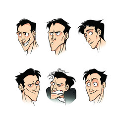 A set of emotions of a man phlegmatic vector