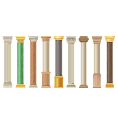 antique columns and pilars set classic stone vector image