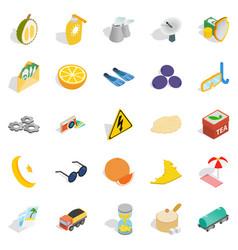 Arabesque icons set isometric style vector
