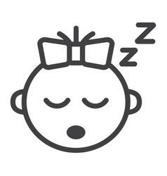 baby girl sleep line icon child and infant vector image