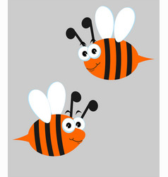 bees set with cute cartoon vector image
