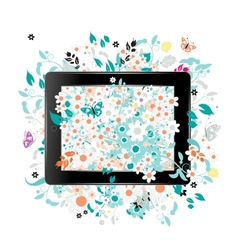 Black abstract tablet pc with floral decoration vector image