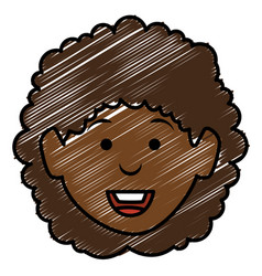 black beautiful woman head avatar character vector image