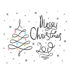 black doodle merry christmas lettering vector image