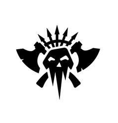 Black silhouettes of orcs clan symbol vector
