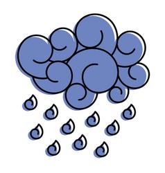 Blue cloud rain drops atmosphere cartoon image vector