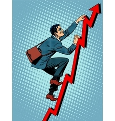 Businessman climber is climbing up according to vector image