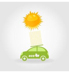Car on solar batteries vector