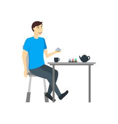 cartoon character man eating food at the table vector image