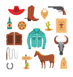 cartoon wild west signs icon set vector image
