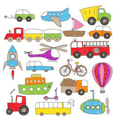 Childrens drawing style toy vechicles vector