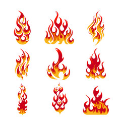 Colorful Fire Flames Set vector