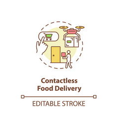 Contactless food delivery concept icon vector