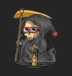 cute grim reaper halloween night vect vector image