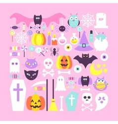 Cute Halloween Objects in Trendy Colors vector
