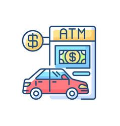 Drive through atm rgb color icon vector