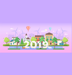 eco town - modern flat design style vector image