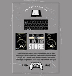 Electronics and devices store retro poster vector