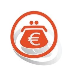 Euro purse sign sticker orange vector