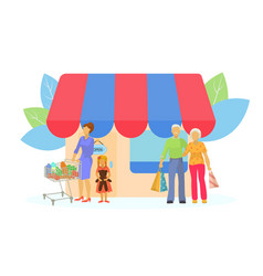 Family with purchase at shop outdoor vector