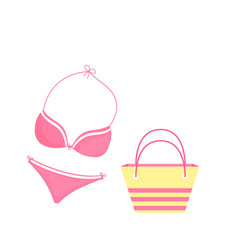 female swimsuit bra and panties beach bag vector image