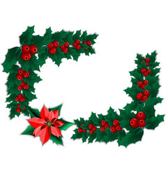 frame of christmas holly garland and poinsettia vector image