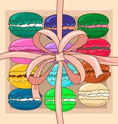 French macaroons in a gift box vector