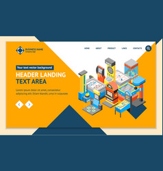 game machine 3d landing web page template vector image