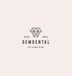 gems dental logo hipster retro vintage vector image