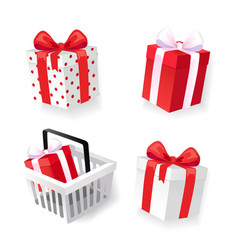 Gift boxes decorated with ribbons isolated icons vector